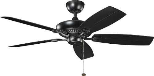 (Kichler 310192SBK 52-Inch Canfield Patio Fan, Satin Black)