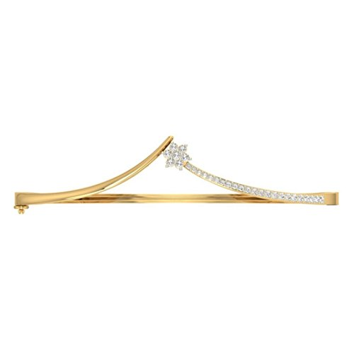 14K Or jaune, 0,33CT TW Round-cut-diamond (Ij| SI) Bangle-bracelets
