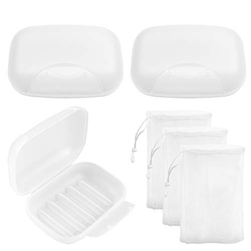 Awpeye 3-Pack Soap Box Holder, Travel Soap Container Soap Holder with Foaming Net for Home Outdoor Hiking Camping Gym