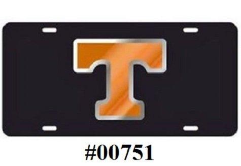 Laser Cut Tag - University of Tennessee Black W/Orange & Silver (T) Mirror Laser Cut Tags