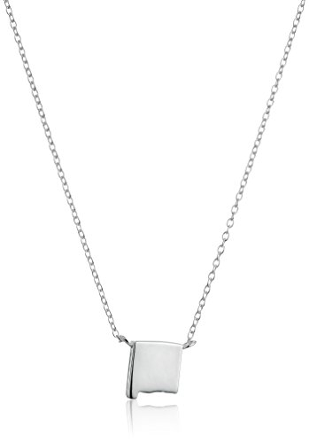 Sterling Silver Stationed Mini State New Mexico Pendant Necklace, 16