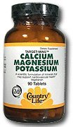 Country Life Target Mins Calcium Magnesium Potassium 500 Mg/500 Mg/99 Mg (per 2 Tablets), 90-Count Two 90 Tablets
