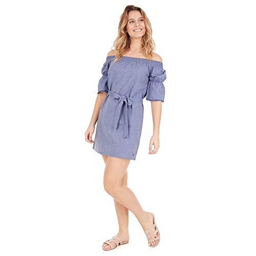 Vestido Ombro A Ombro - Azul Indigo - Tamanho G
