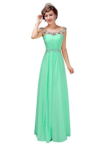 Blue Spaghetti Long Strapless Evening Neck Dresses Crystal V Light Beauty Emily Chiffon HATwfx