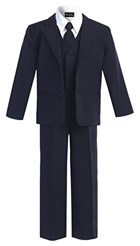 OLIVIA KOO Boys Classic Suit Set with Cloth Cover Buttons 12 Navy