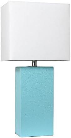 Elegant Designs LT1025-AQU Modern Leather Table Lamp