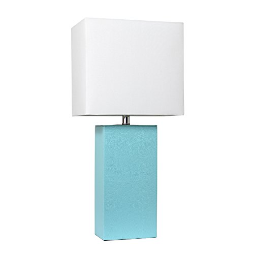 Elegant Designs LT1025-AQU Modern Leather Table Lamp with with White Fabric Shade, Aqua ()