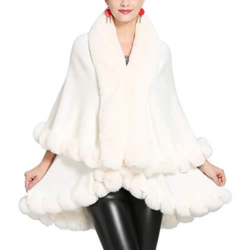 In Pelliccia Doppio Collo Con Donna Da White Inverno A Poncho Liulife Scialle Autunno Volpe Di xP4aqw0
