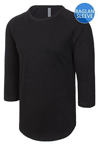 leeve Essential Raglan Tee Jersey Shirt All-Black, Large (Baseball Black Tee T-shirt)