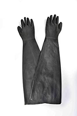 """Heavy Duty Natural Rubber Gloves,Gauntlet work,Sandblast Cabinet Gloves,Dry Box Safety Gloves,Cotton Linning,Resist water,Resist Acid and Alkali of normal temperature, 32""""length,1 Pair"""