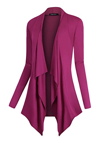 Urban CoCo Women's Drape Front Open Cardigan Long Sleeve Irregular Hem (S, Fuchsia Rose)