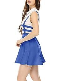 Allegra K minifalda con tirantes y cintura elástica, corte A, para dama.