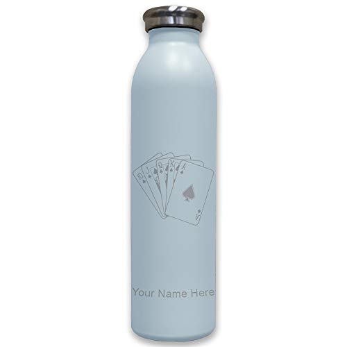 (Lasergram Sports Water Bottle, Royal Flush Poker Cards, Personalized Engraving Included (Light Blue))