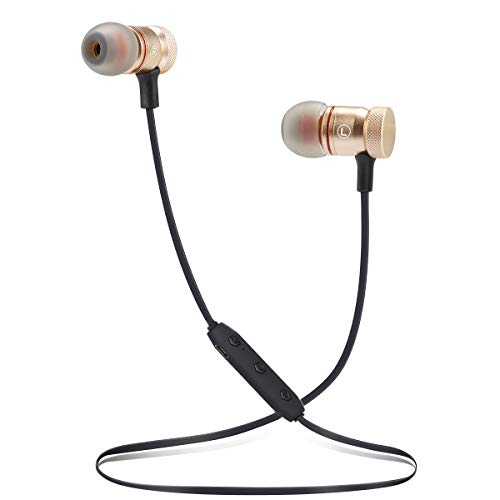 Bluetooth Headphones Wireless Sports Earbuds Sweatproof Headset Magnetic Attraction Stereo Earphones for Running Workout Gym Noise Cancelling Proshine(Gold)