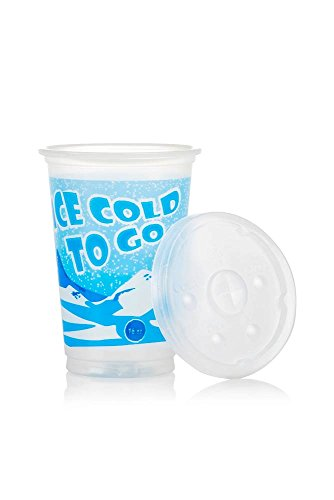 Plastic Cups with Lids - 16 oz Disposable Drinking Cups for Water, Soda & Soft Drinks - Translucent - Ice Cold To Go Design - 100 (16 Oz Translucent Tumbler)