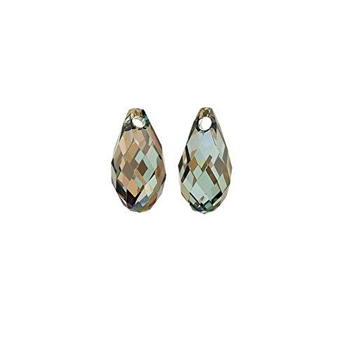Swarovski Crystal, 6010 Briolette Pendants 11x5.5mm, 2 Pieces, Crystal Iridescent ()