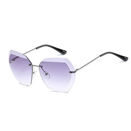 a364c8cd0 Rimless Diamond Cutting Lens Sunglasses For Women Design Shades Sun Glasses  Oversize,NO2 DARK GRAY