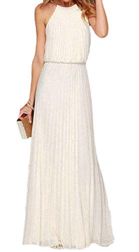 Coolred-femmes Backless Couleur Pure Sans Manches Plissée Robe Évasée Swing Blanc