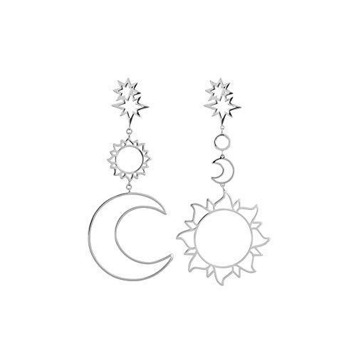 Sun Moon Asymmetrical Drop Earrings, Bohemian Dangle Earring, Fashion Retro Stud Earrings for Women Girls Silver
