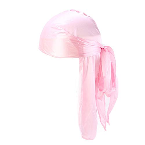 Unisex Deluxe Silky Durag Extra Long-Tail Headwraps Pirate Cap 360 Waves Du-RAG (Plain Pink 1pc)