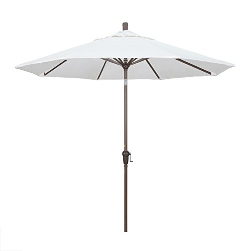 California Umbrella 9' Round Aluminum Market Umbrella, Crank Lift, Auto Tilt, Champagne Pole, White
