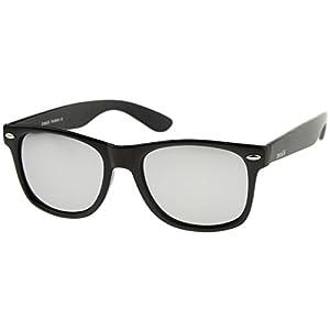 zeroUV - Matte Finish Reflective Color Mirror Lens Large Square Horn Rimmed Sunglasses 55mm (Matte / Silver)