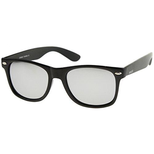 zeroUV - Matte Finish Reflective Color Mirror Lens Large Square Horn Rimmed Sunglasses 55mm (Matte / - Finish Silver Mirror Sunglasses