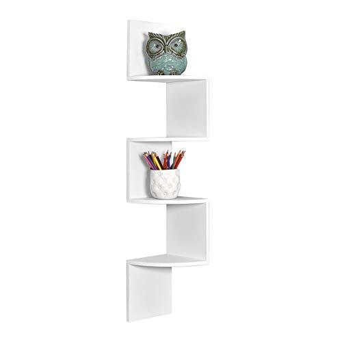 WELLAND Zig Zag 4 Tiers Corner Wall Shelf, White - Adorable 3 Tier