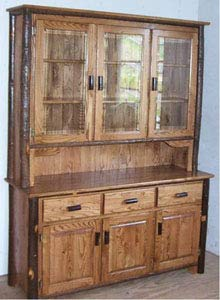 Three Door Oak Hutch With Hickory Trim