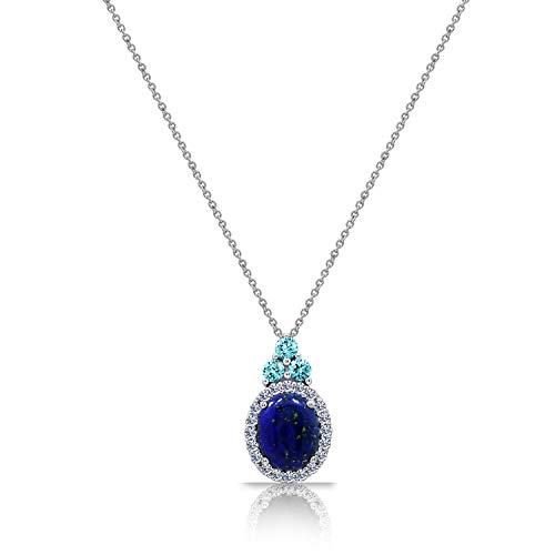 J'ADMIRE Genuine Lapis Pendant with Aquamarine Colored Swarovski Zirconia, Rhodium Plated Sterling -