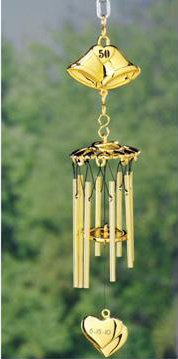 Golden 50th Anniversary Wind Chime -