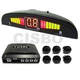 6 Rear Parking Reversing Sensors with LED Display 2 Front 4 Rear - Black