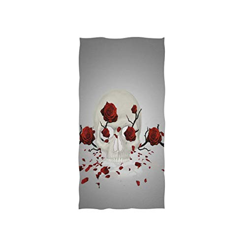 Pingshoes Skull with Roses Hand Towels Ultra Soft Luxury Cotton Face Towel Washcloths for Home Kitchen Bathroom Spa Gym Swim Hotel Use