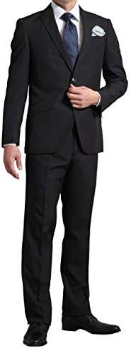ツーパンツスーツ メンズ 2つボタン スリム ウォッシャブルスラックス 春夏 ポリエステル100% スペアパンツ付