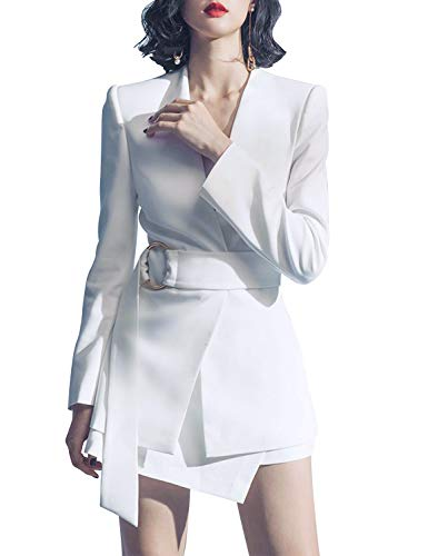 b6066740ac0c Sunlen V-Neck White Mini OL Elegant Outfits Blazer Dresses 2 Piece Sets for  Women