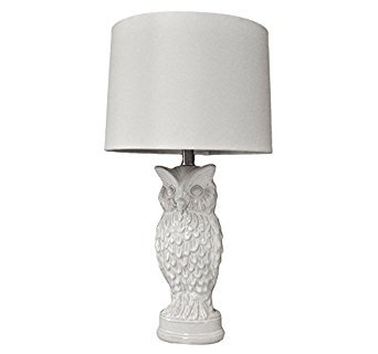Owl Ceramic Table Lamp for Living Room, Bedroom, Studio, Study and Office - Lily White