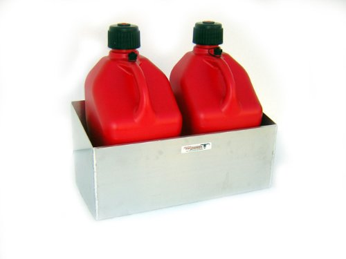 Pit Posse Fuel Jug Holder Rack - Fits 2 5 Gallon Jugs - Aluminum Storage Organizer - Use at Your Shop/Garage/Enclosed Race Trailer - Anti Rust - Easy to Install ()