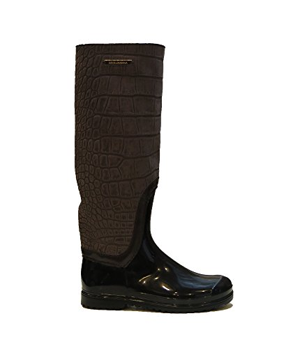 Dolce & Gabbana Italy Woman's Brown Crocodile Suede Rubber Rainboots Boots AA (6)
