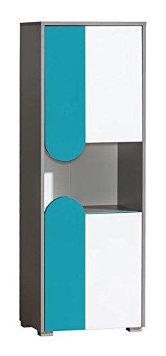 Jugendzimmer - Schrank Klemens 04, Farbe  Blau   Weiß   Grau - Abmessungen  144 x 50 x 38 cm (H x B x T)