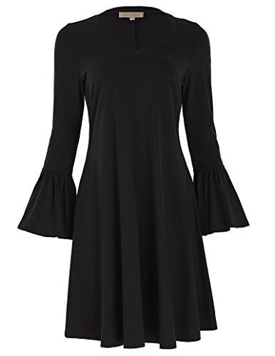 JACK SMITH Women's Casual Flowy Dress Short Length (L,Black)