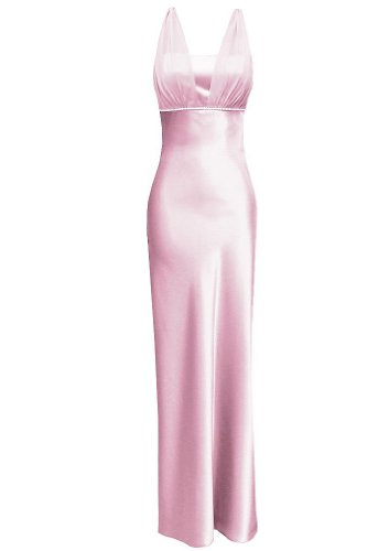 Satin Chiffon Holiday Bridesmaid Long Formal Gown Crystals Junior Plus Pink 3X