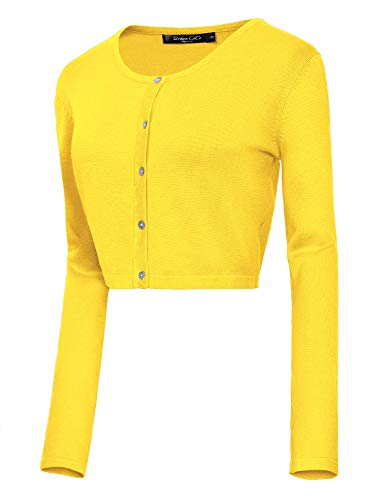 Women's Button Down Crew Neck Cropped Cardigan Knitted Sweater (L, Lemon Yellow) - Neck Cropped Cardigan