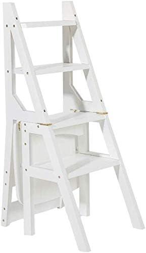 GBX Taburete Plegable Fácil Y Multifunción, Escalera de Madera Blanca Silla Plegable Multifunción Biblioteca Del Hogar Oficina 4 Pasos Estantería Escalera Soporte de Flores: Amazon.es: Bricolaje y herramientas
