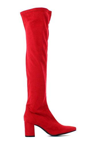 Rojo Tacón Mustang Altas Botas Cuadrado Rubi UO68qw