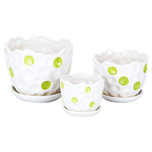 3 Pack Ceramic Flower Plant Pot with Saucers, Size 4'' 5'' and 6'' (Spring)