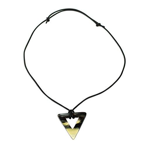NOVICA Leather Pendant Necklace, 22