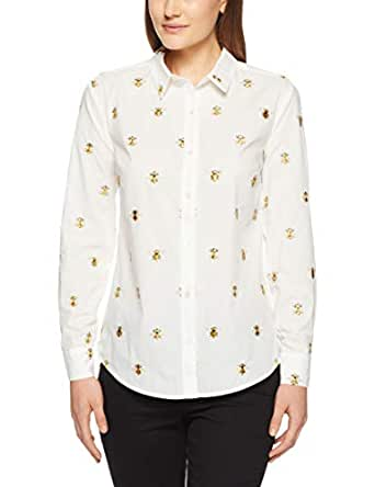 French Connection Women's BEE Embroidered Button Through Shirt, Summer White/Multi, Eight