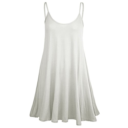 (Oops Outlet Women's Sleeveless Plain Strappy Floaty Flared Swing Dress Long Top M/L (US 8/10) Cream )