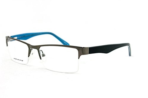 Newbee Fashion - Slim High Quality Metal Half Frame Prescription Only Glasses with Spring - Half Frame Bans Ray