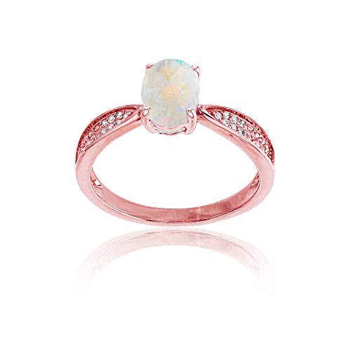 (Sterling Silver Rose 0.05 CTTW Round Diamonds & 8x6mm Oval Created Opal Center Ring)